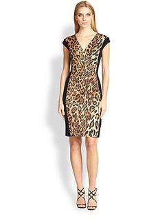 Escada Leopard Contrast-Panel Dress