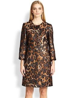 Escada Leopard Jacquard Coat