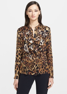 ESCADA Leopard Print Ruffled Silk Blouse