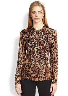 Escada Leopard Ruffle Silk Blouse
