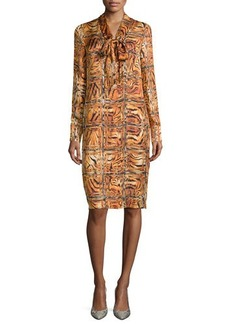 Escada Long-Sleeve Animal-Print Shift Dress