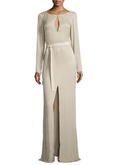 Escada Long-Sleeve Gown with Embroidery