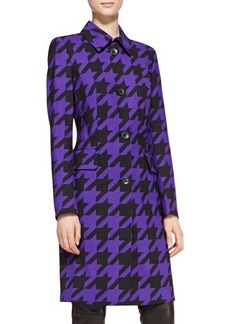 Escada Long-Sleeve Houndstooth Coat, Blue