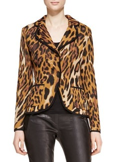 Escada Long-Sleeve Leopard-Print Blazer