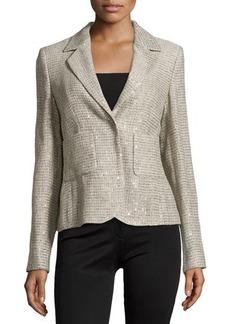 Escada Long-Sleeve Metallic Woven Blazer, Platinum