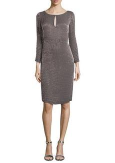 Escada Long-Sleeve Round-Neck Beaded Dress, Granite