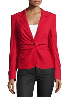 Escada Long-Sleeve Ruched-Front Blazer, Lacquer