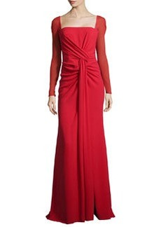 Escada Long-Sleeve Silk-Stretch Mermaid Gown, Lacquer