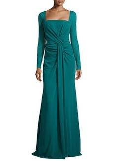 Escada Long-Sleeve Silk-Stretch Mermaid Gown, Teal