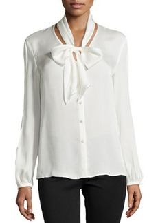Escada Long-Sleeve Tie-Neck Silk Blouse