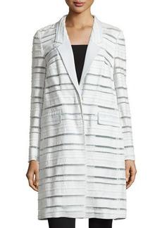 Escada Long-Sleeve Woven-Stripe Coat, Opal