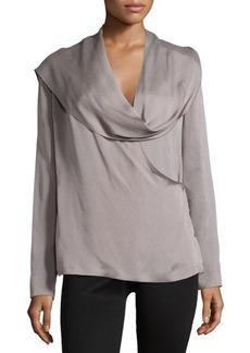 Escada Long-Sleeve Woven Top with Scarf, Platinum