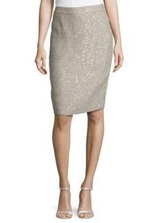 Escada Low-Rise Metallic Pencil Skirt, Platinum