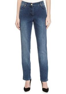 Escada Low-Rise Straight-Leg Denim Jeans, Medium Blue