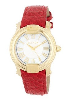 Escada Madelene Watch with Snake-Embossed Leather Strap, Red