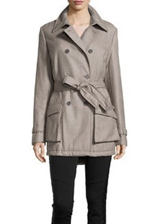 Escada Maia Double Breasted Twill Trench Coat, Gravel