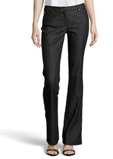 Escada Metallic Pinstripe Stretch Jeans, Black
