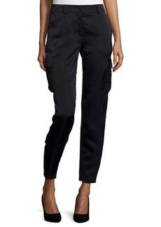 Escada Mid-Rise Cropped Cargo Pants, Black