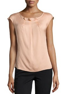 Escada Najja Silk Cap-Sleeve Top, Desert Rose