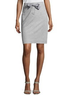Escada Narrow Drawstring Pencil Skirt, Gray