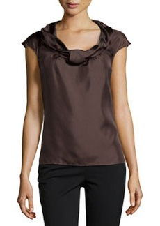 Escada Nuri Sleeveless Silk Shell Top, Dark Brown