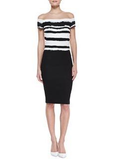 Escada Off-Shoulder Paint-Striped Dress, Black/White