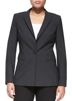 Escada One-Button Crepe Blazer, Gray, Women's