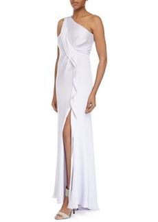 Escada One-Shoulder Asymmetric Ruffle Gown, Lotus