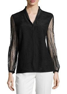 Escada Orly Long-Sleeve Lace Blouse, Black