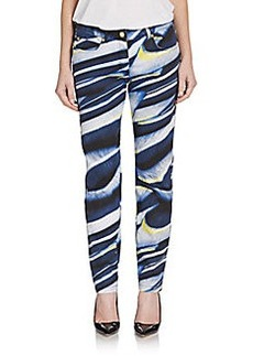 Escada Palm Print Slim Jeans