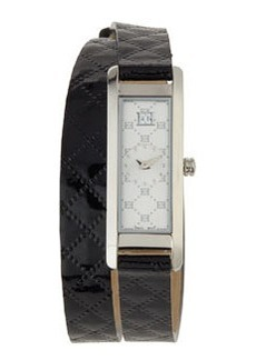 Escada Patent Leather Two-Hand Florence Wrap Watch, Black