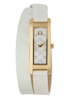 Escada Patent Leather Two-Hand Florence Wrap Watch, White