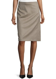 Escada Pencil Silk-Blend Skirt, Olive