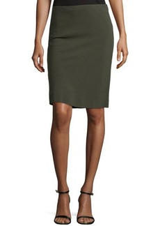 Escada Pencil Skirt W/Basketweave Back, Olive