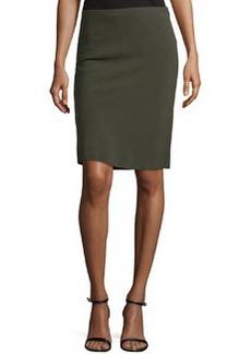 Escada Pencil Skirt W/Basketweave Back, Olive