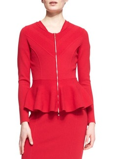 Escada Peplum Zipper Jacket, Garnet