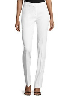 Escada Pique Straight-Leg Pants, White