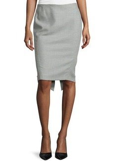 Escada Plaid Pencil Peaked-Back Skirt