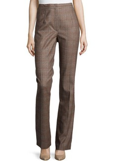 Escada Plaid Straight-Leg Pants, Camel