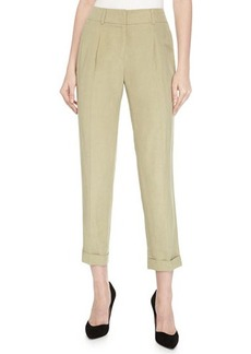 Escada Pleated-Front Woven Pants, Cactus