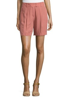 Escada Pleated-Front Woven Shorts, Litchi