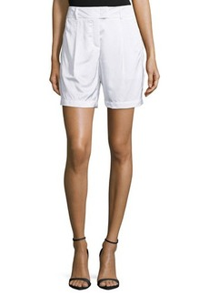Escada Pleated-Front Woven Shorts, White