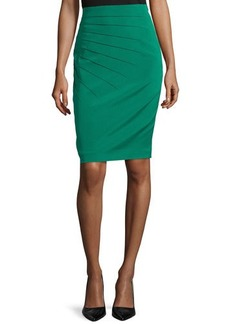 Escada Pleated Pencil Skirt, Smaragd