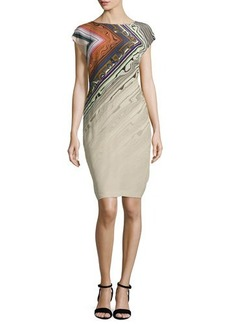 Escada Printed Cap-Sleeve Sheath Dress