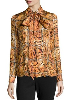 Escada Printed Pointed Collar Blouse, Amber