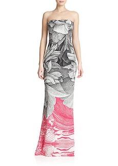 Escada Printed Strapless Gown
