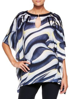 Escada Printed Wool-Silk Tunic Top
