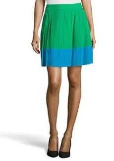 Escada Raecel Colorblock Pleated Skirt, Green/Blue