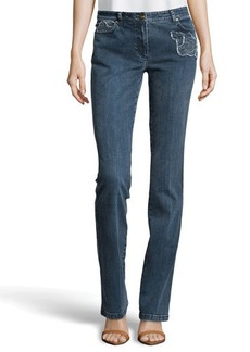 Escada Rose Detail Jeans, Navy