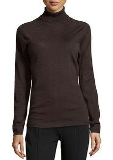 Escada Sapia Lightweight Wool Turtleneck Sweater, Dark Brown
